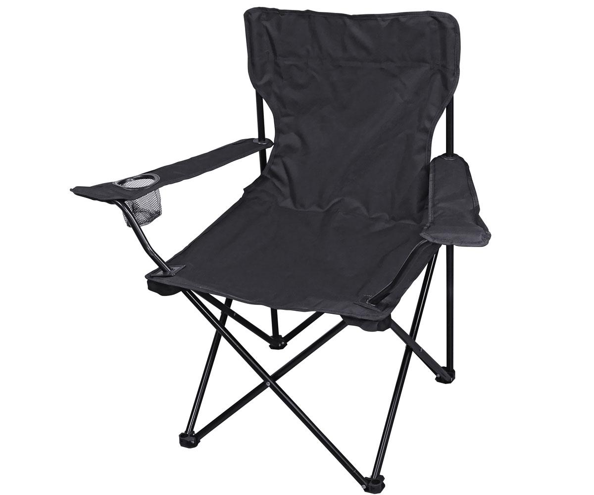 Outdoor Faltstuhl mit Lehne schwarz