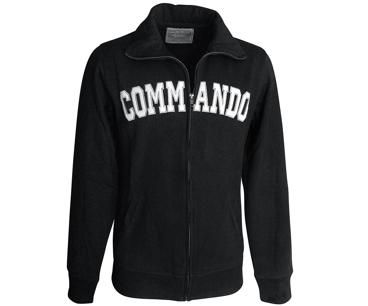 Commando Stehkragen Sweatjacke schwarz