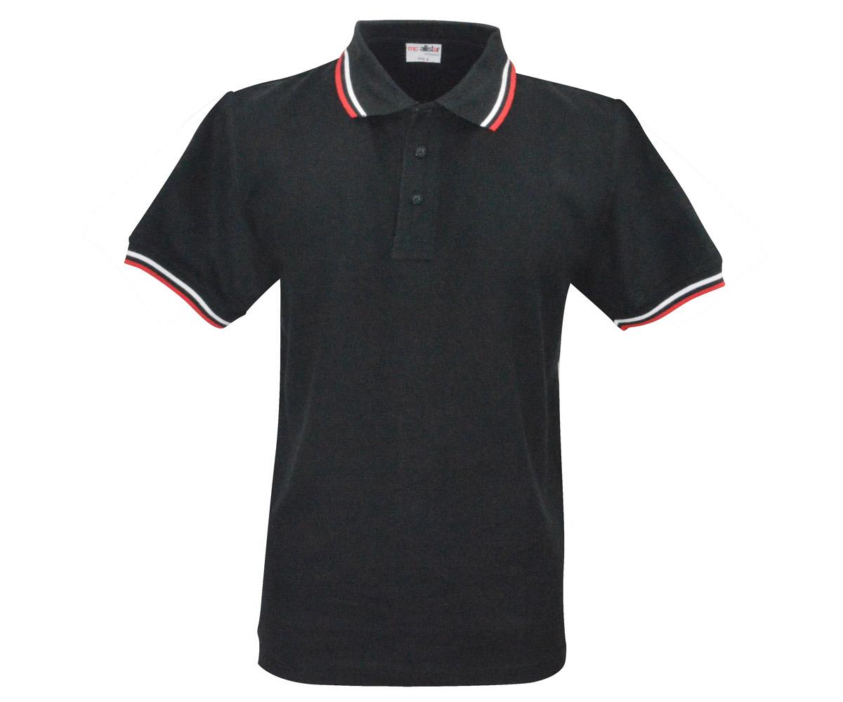 Polo Shirt Active Wear schwarz Streifen rot - weiß