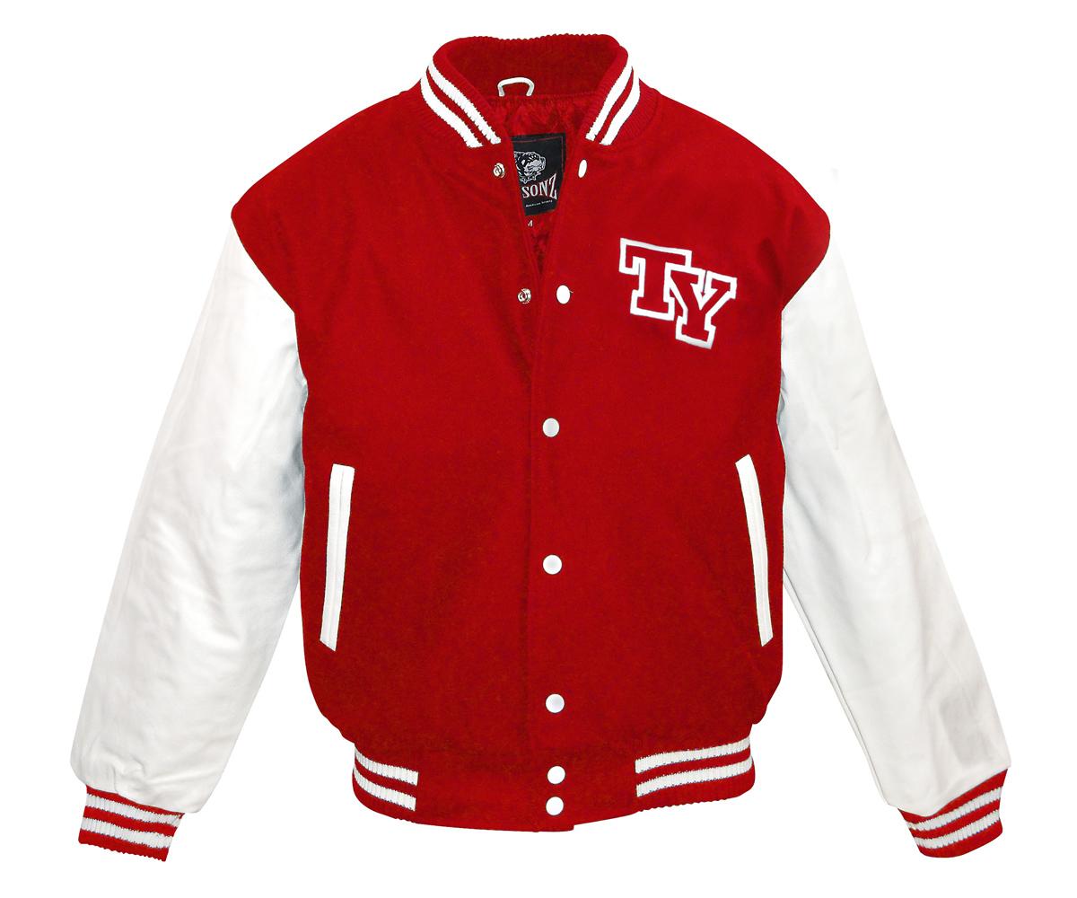 Baseball Jacke TY Logo rot - weiß