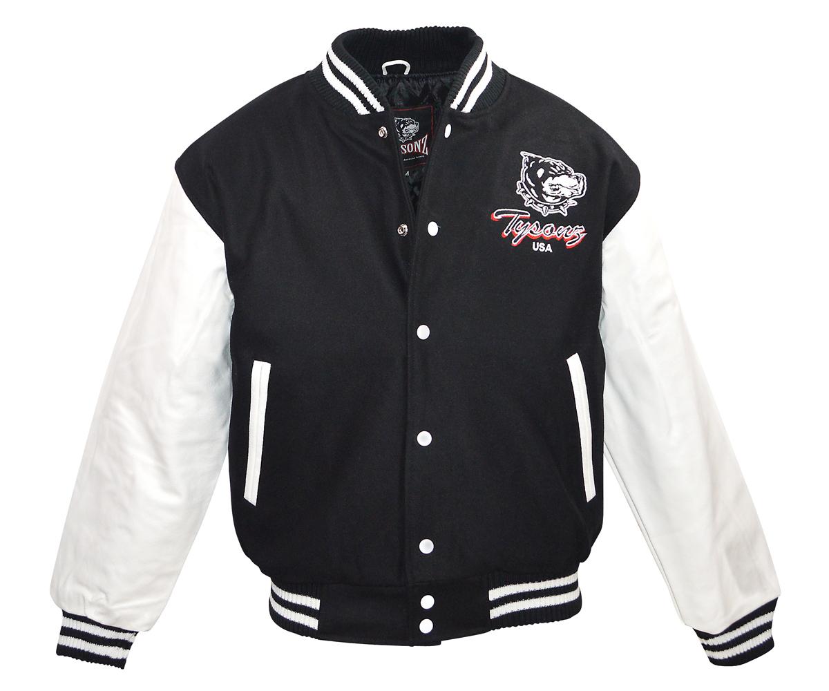 Baseball Jacke Pro Sporter II Logo echt Leder schwarz - weiß