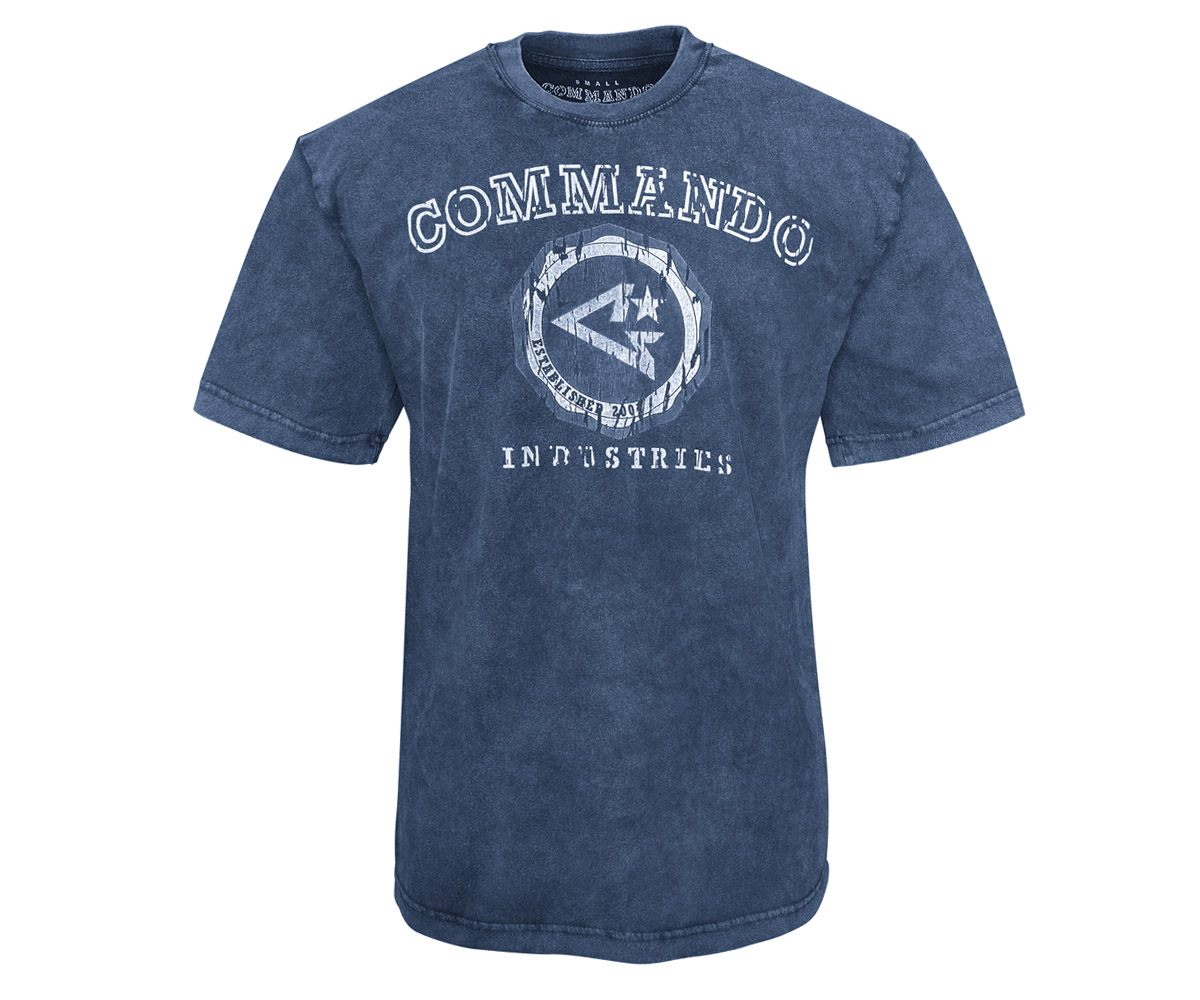 Commando T-Shirt Logo Vintage 2 navy