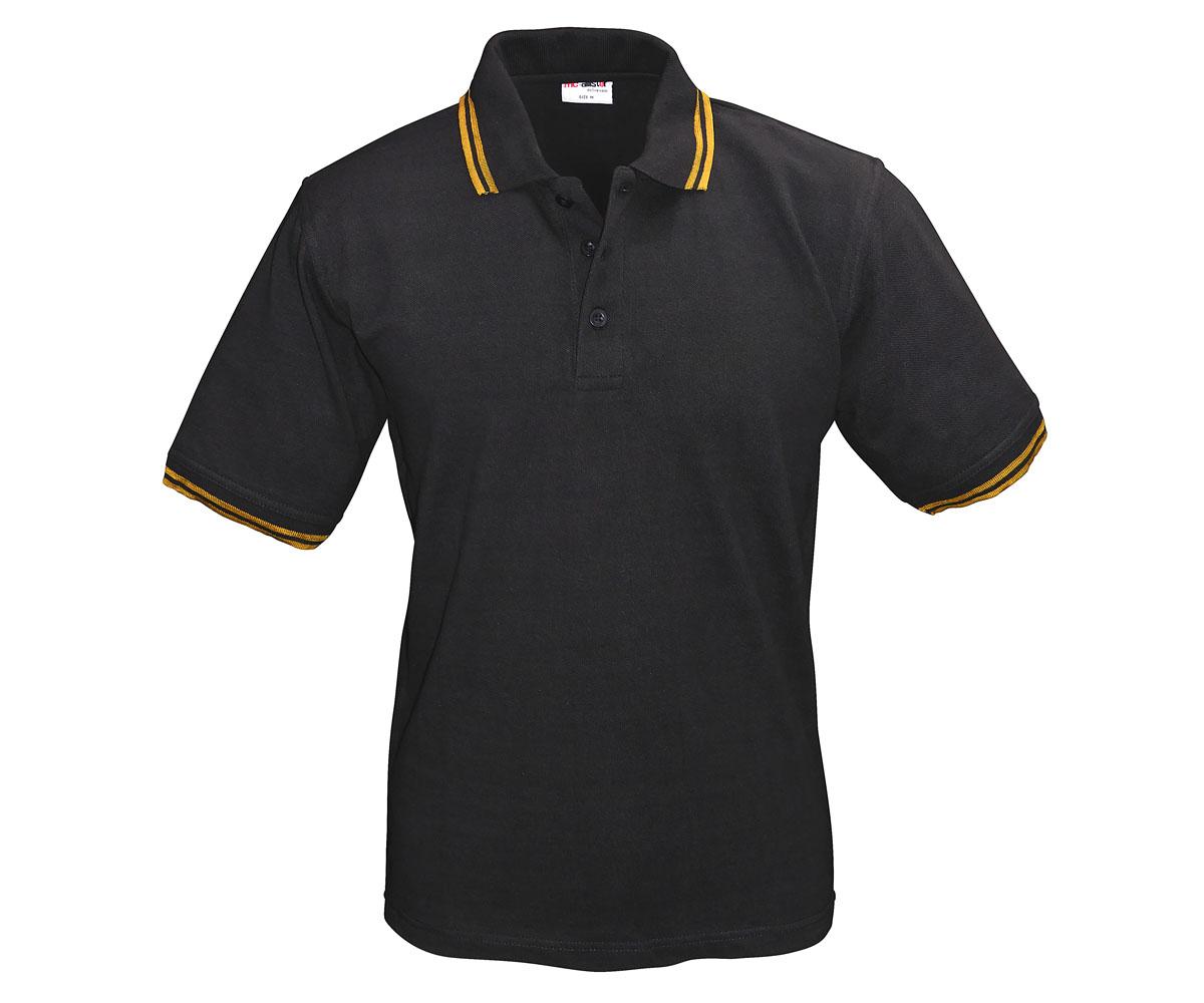 Polo Shirt Active Wear schwarz Streifen gold